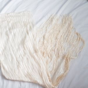 Cream Striped Tassel Scarf